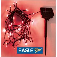 Eagle LED Solar Powered Outdoor String Lights. Red 50m