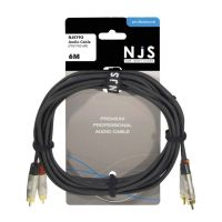 NJS Professional Audio Lead 2x Phono to 2x Phone Plug 6M