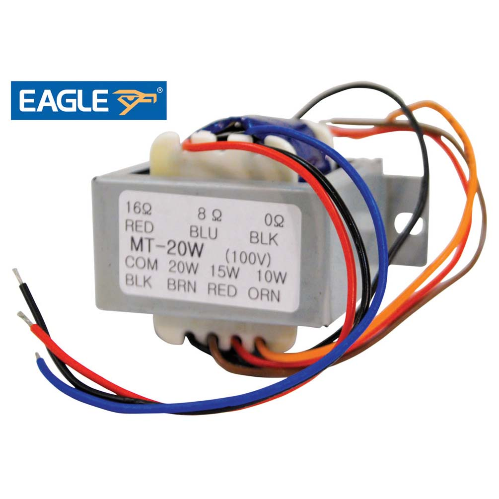 eagle 100v line transformer with 10 15 20w tappings  canford mp300 8 100v line transformer