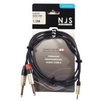 NJS Pro Audio Lead 2x Mono Jack Plug to 3.5mm Stereo Jack 1.5M