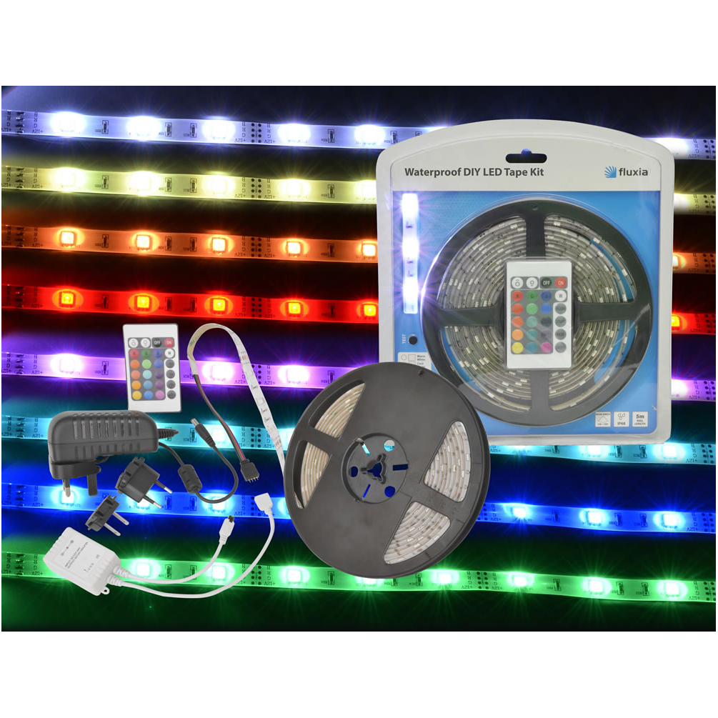 fluxia waterproof diy ip68 led tape kit 5m rgb. Black Bedroom Furniture Sets. Home Design Ideas