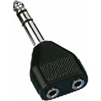 NTA 196 Y Adaptor 6.35mm Stereo Jack to 2x 3.5mm Plugs