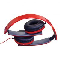 Red Slim Profile Folding Stereo Headphones