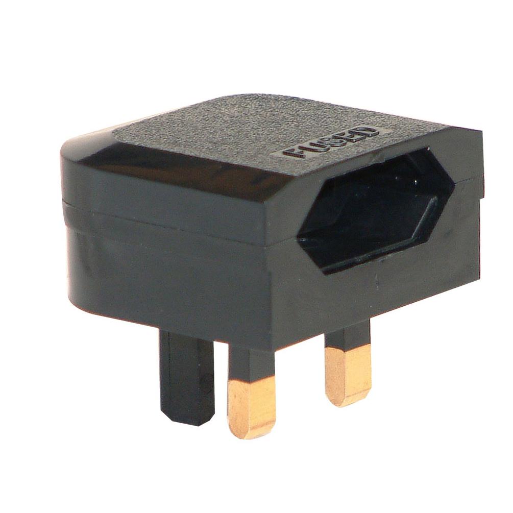 Black 3a Euro Converter Euro Plug To 3 Pin Uk