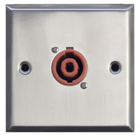 Silver Metal Wall Plate with 1x 2 Pole Speakon Socket