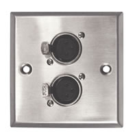 Silver Metal Wall Plate with 2x XLR Sockets