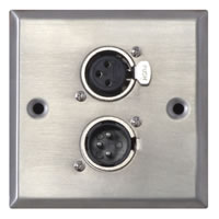Silver Metal Wall Plate with 1x 3 Pole XLR Male and Female