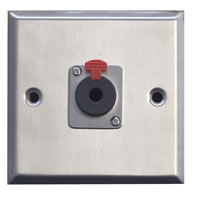Silver Metal Wall Plate with 1x 6.35mm Jack Socket Standard Size