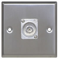 Silver Metal Wall Plate with 1x BNC Socket Standard Size