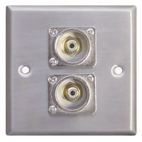 Silver Metal Wall Plate with 2x Phono Sockets Standard Size