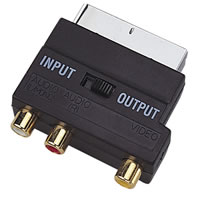 Scart Adaptor with Scart Plug to 3x Gold Plated Phono Plugs